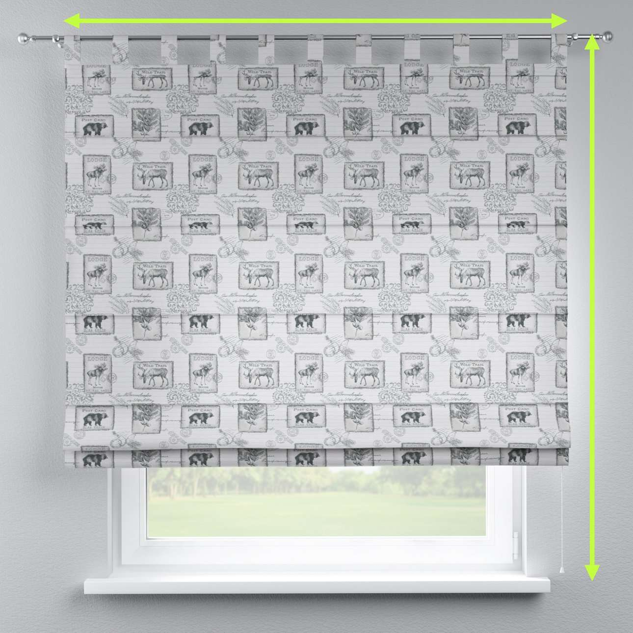 Verona tab top roman blind in collection Nordic, fabric: 630-18