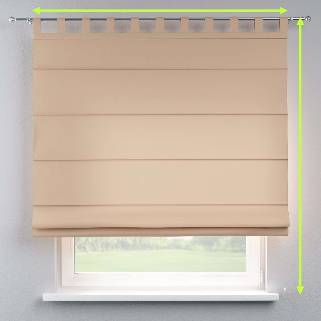 Verona tab top roman blind in collection Cotton Panama, fabric: 702-01