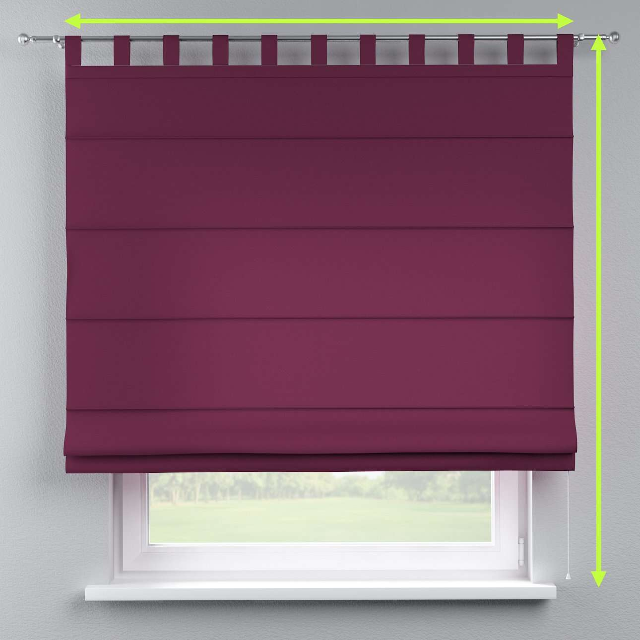 Verona tab top roman blind in collection Cotton Panama, fabric: 702-05