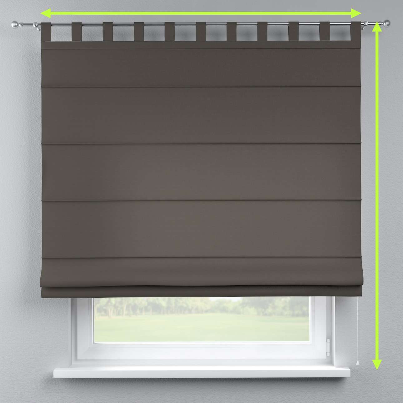 Verona tab top roman blind in collection Cotton Panama, fabric: 702-08
