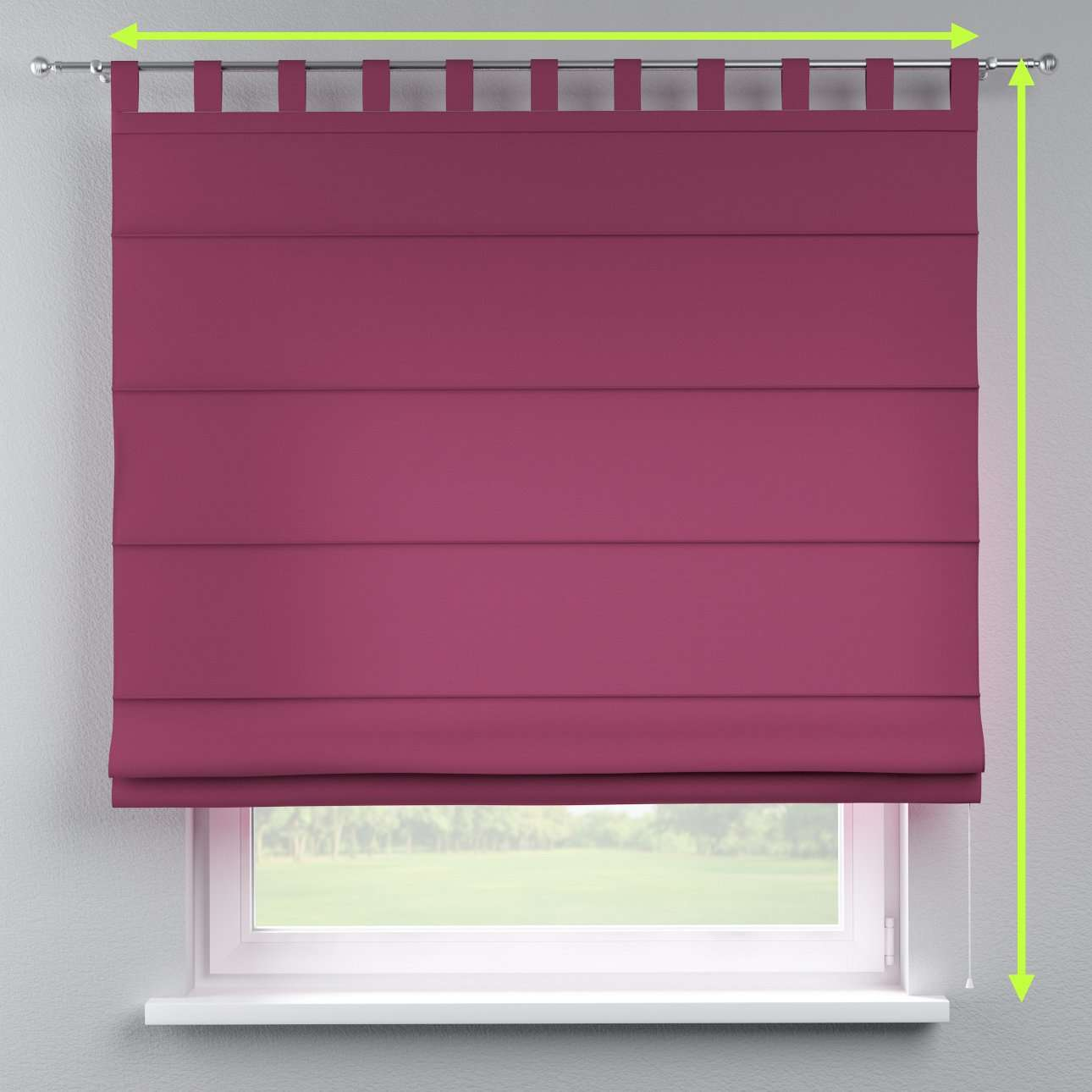 Verona tab top roman blind in collection Cotton Panama, fabric: 702-32