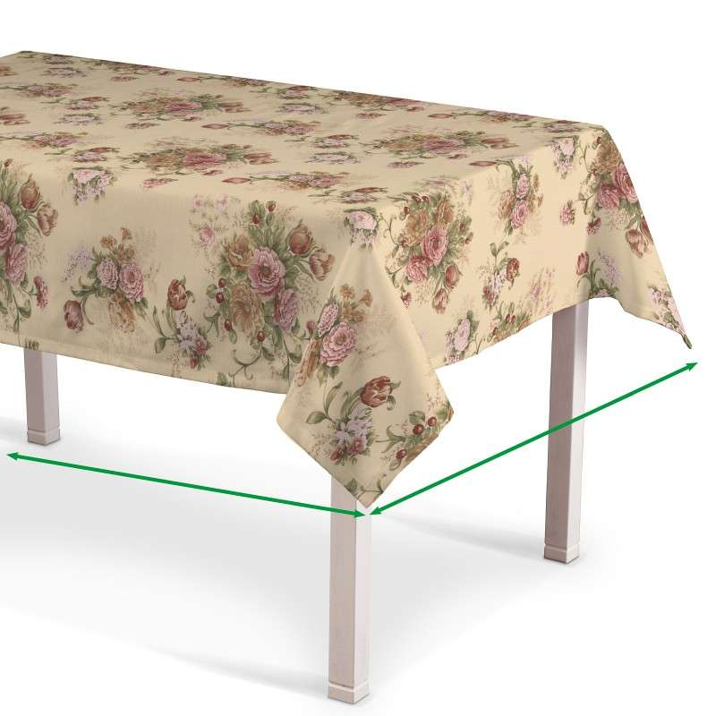 Rectangular tablecloth in collection Flowers, fabric: 302-01