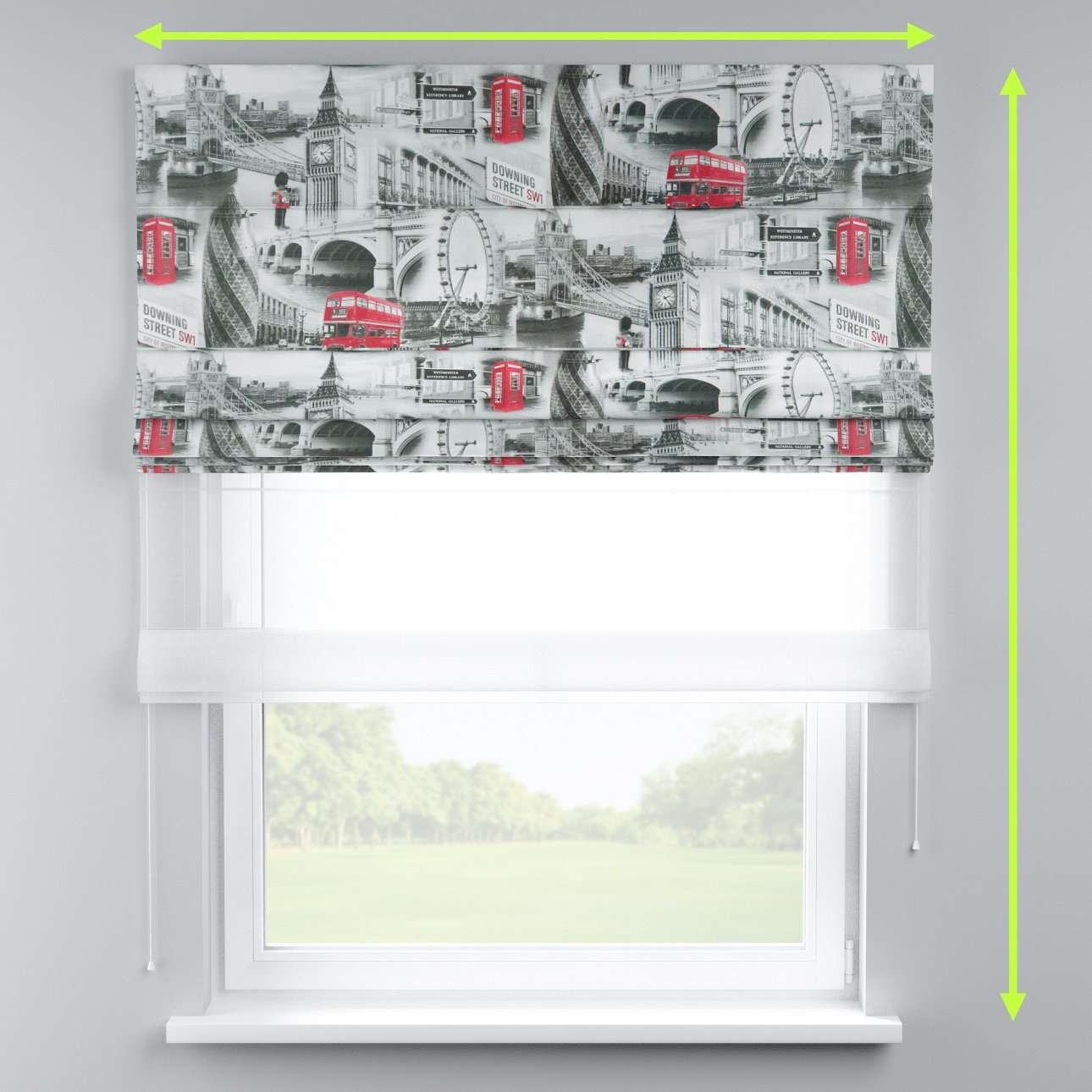 Voile and fabric roman blind (DUO II) in collection Comic Book & Geo Prints, fabric: 111-04