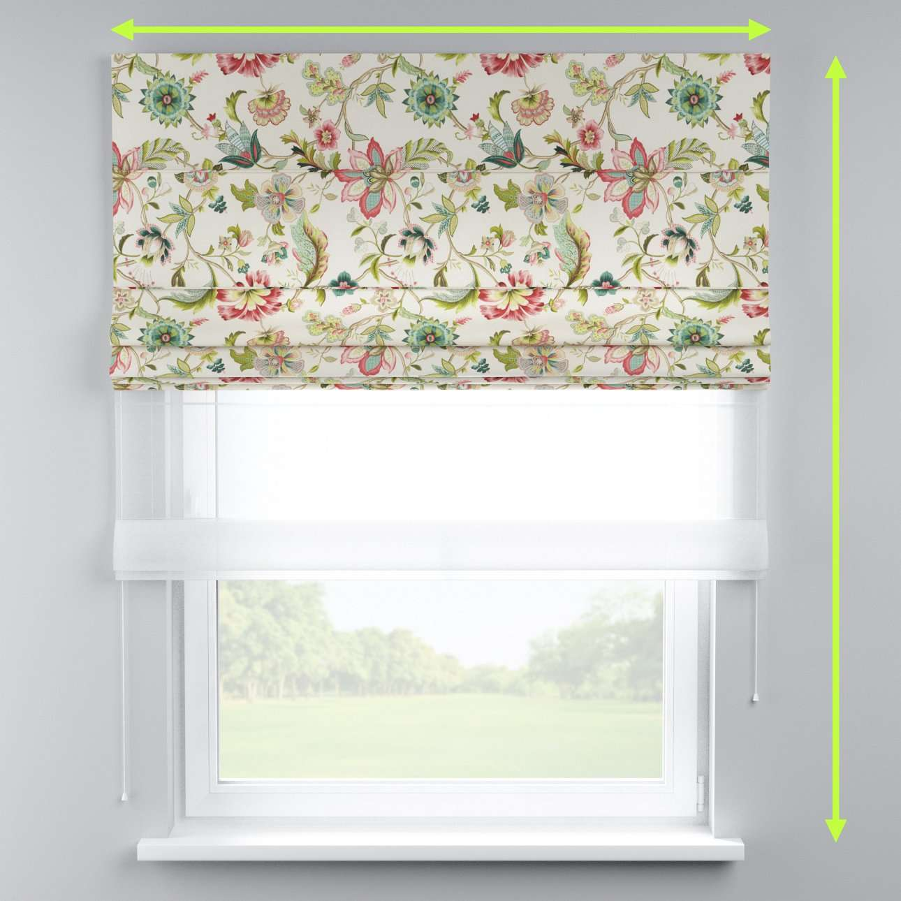 Voile and fabric roman blind (DUO II) in collection Londres, fabric: 122-00
