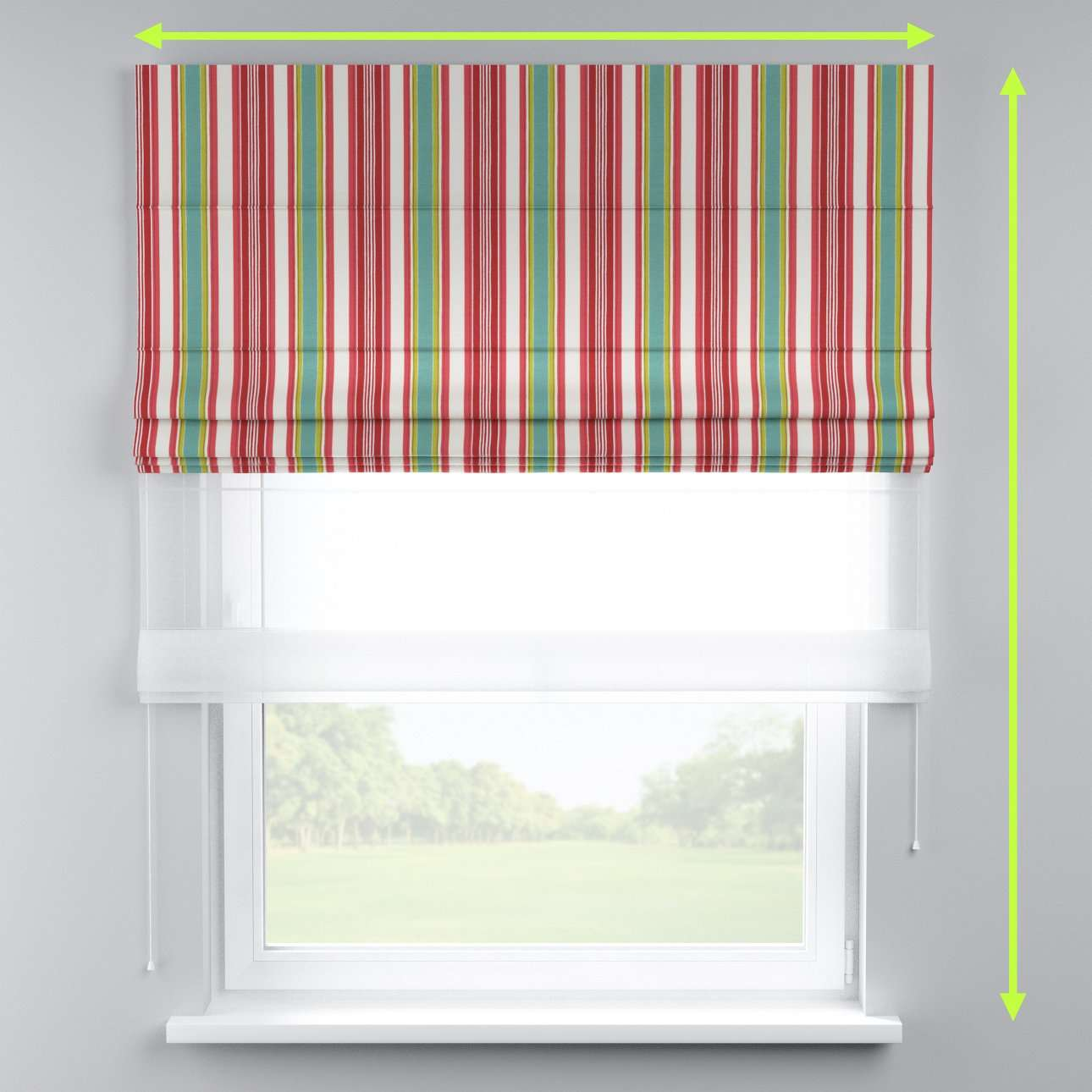 Voile and fabric roman blind (DUO II) in collection Londres, fabric: 122-01