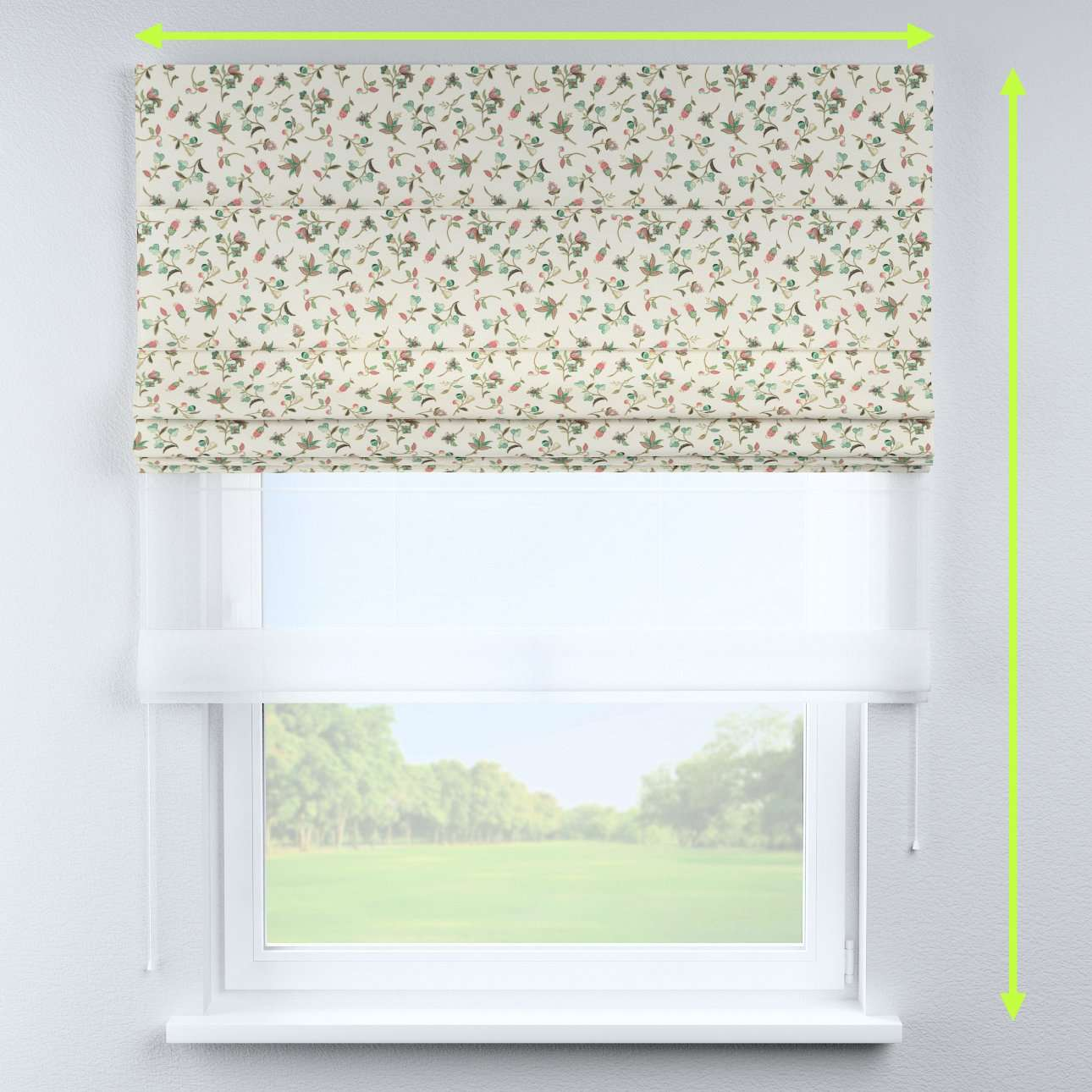 Voile and fabric roman blind (DUO II) in collection Londres, fabric: 122-02