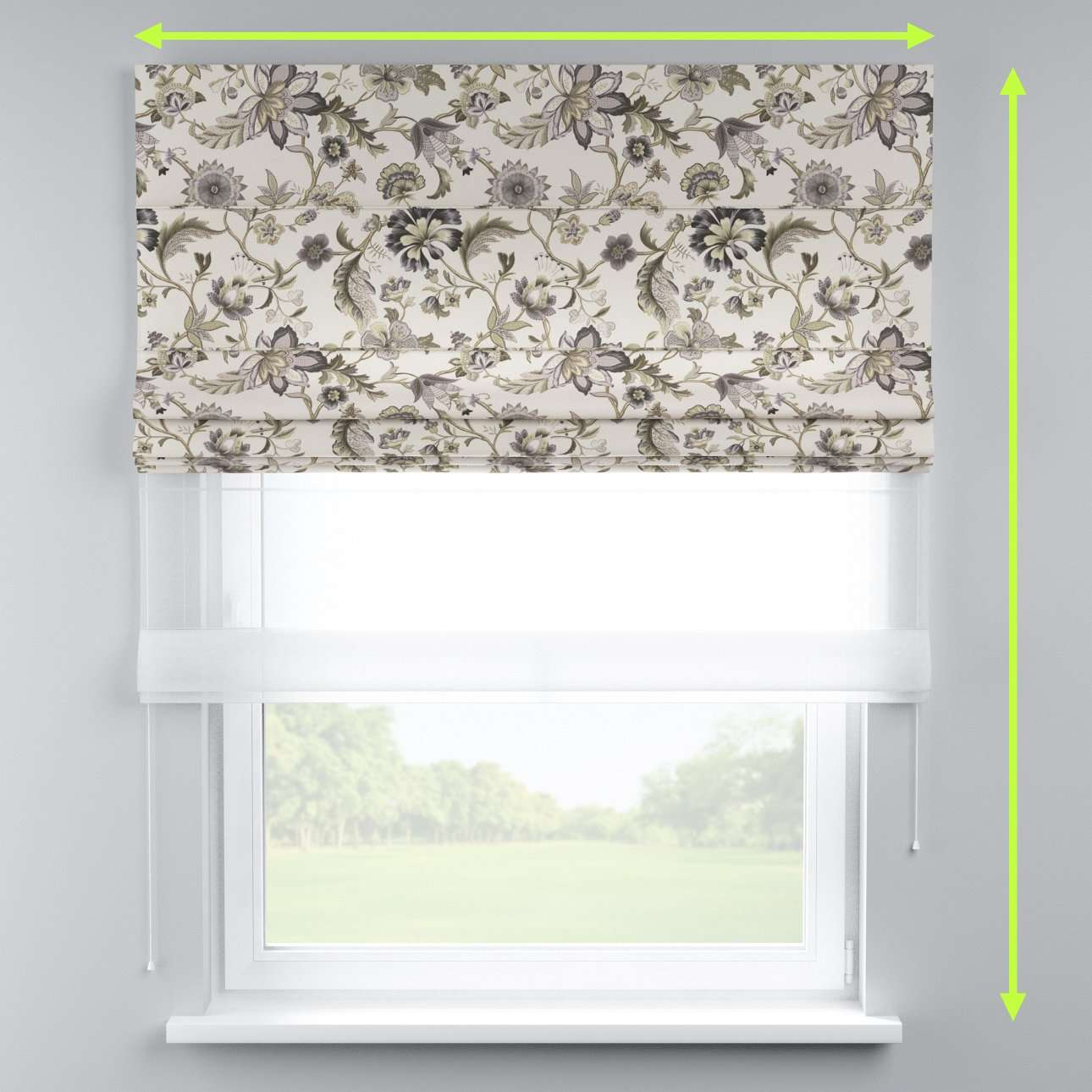 Voile and fabric roman blind (DUO II) in collection Londres, fabric: 122-03