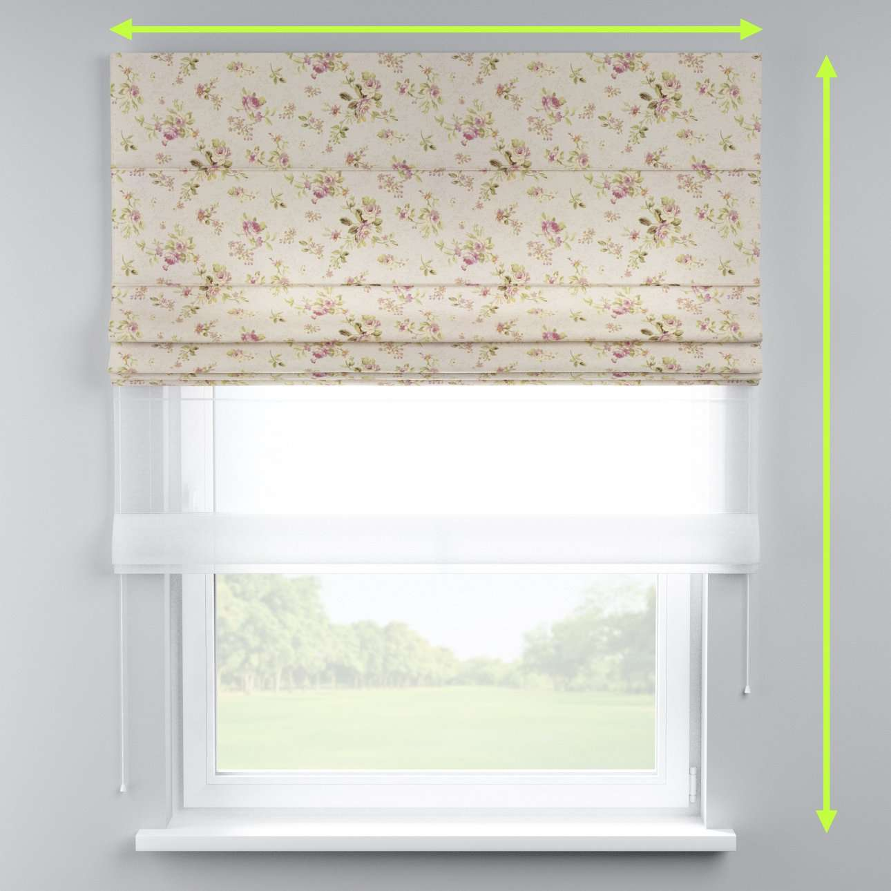 Voile and fabric roman blind (DUO II) in collection Londres, fabric: 122-07