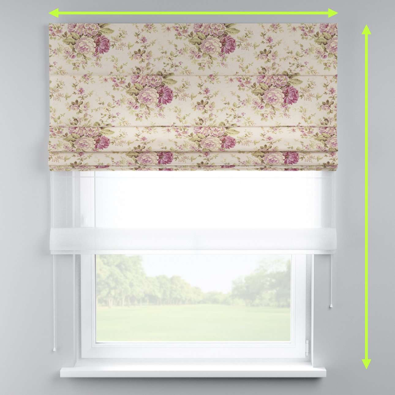 Voile and fabric roman blind (DUO II) in collection Londres, fabric: 122-08