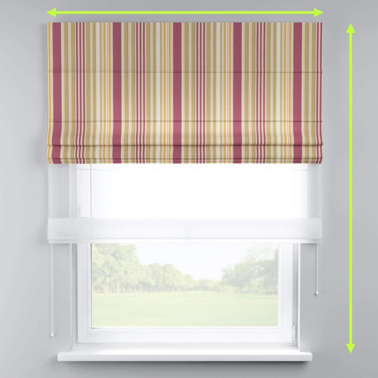 Voile and fabric roman blind (DUO II) in collection Londres, fabric: 122-09