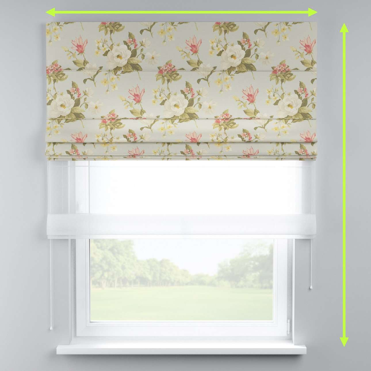 Voile and fabric roman blind (DUO II) in collection Londres, fabric: 123-65