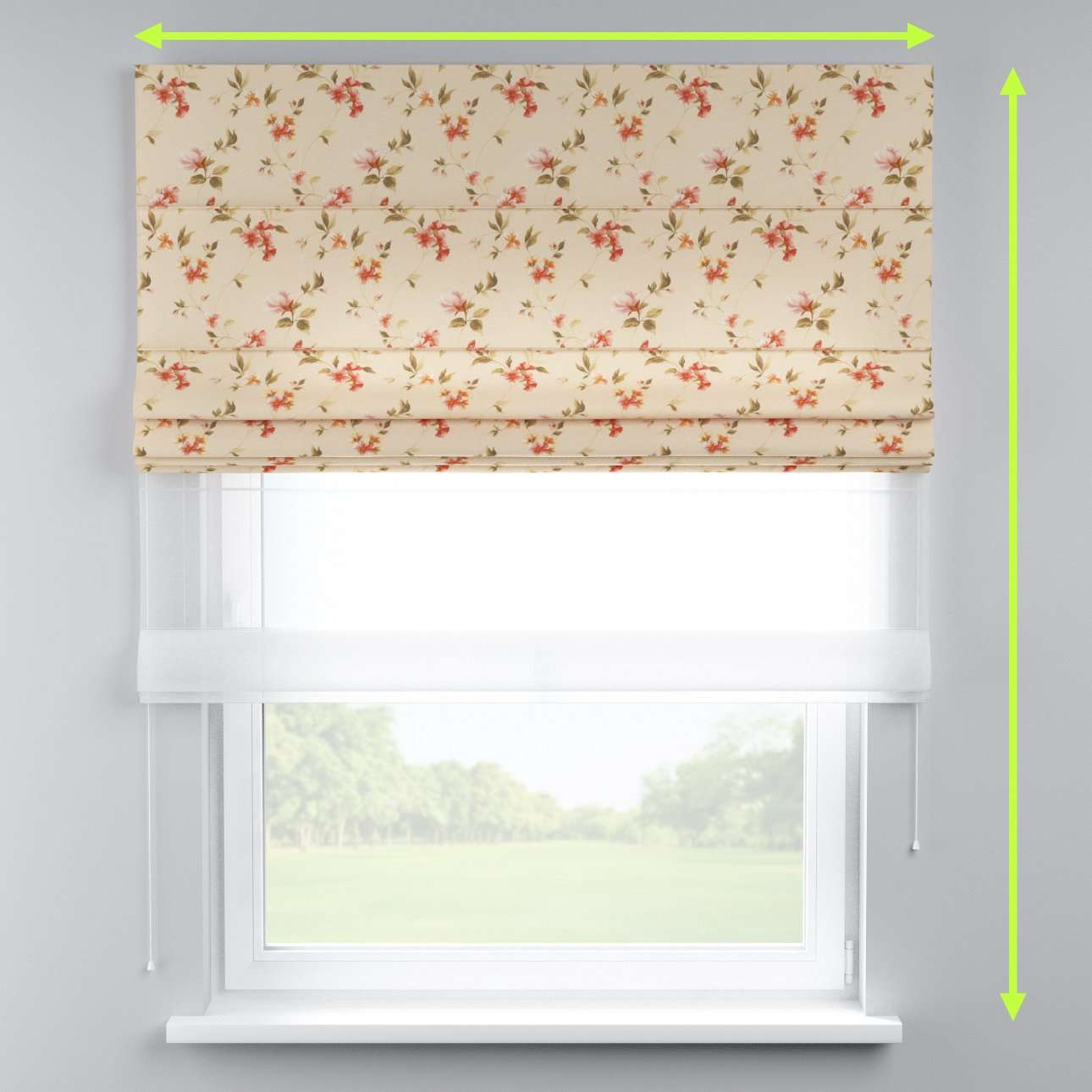 Voile and fabric roman blind (DUO II) in collection Londres, fabric: 124-05
