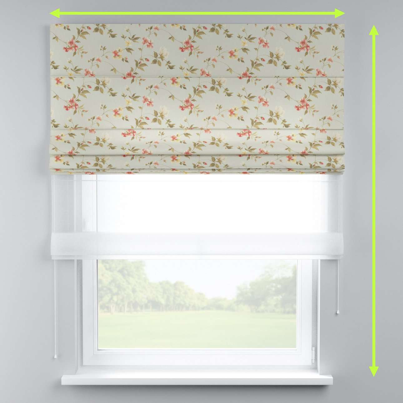 Voile and fabric roman blind (DUO II) in collection Londres, fabric: 124-65