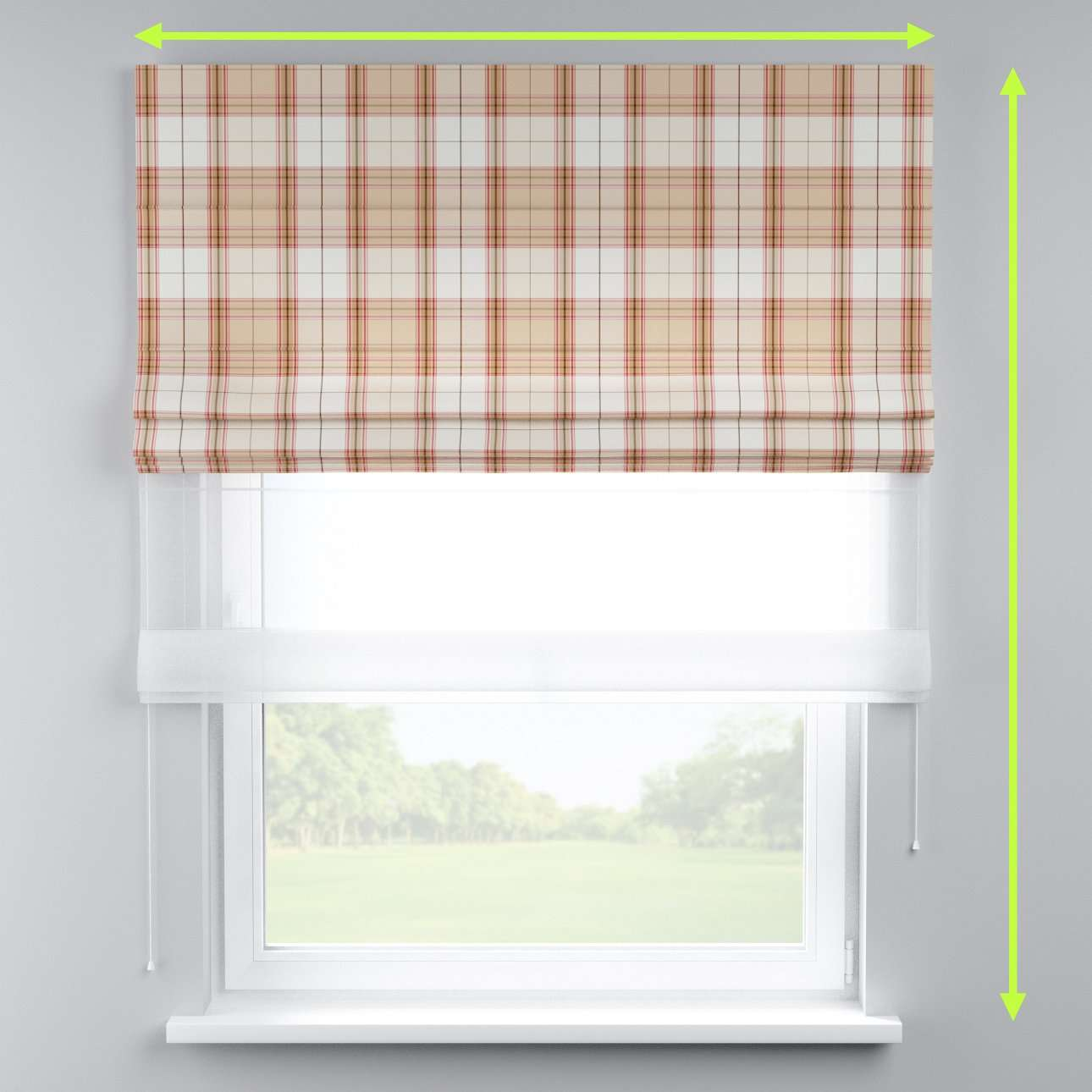 Voile and fabric roman blind (DUO II) in collection Bristol, fabric: 125-09