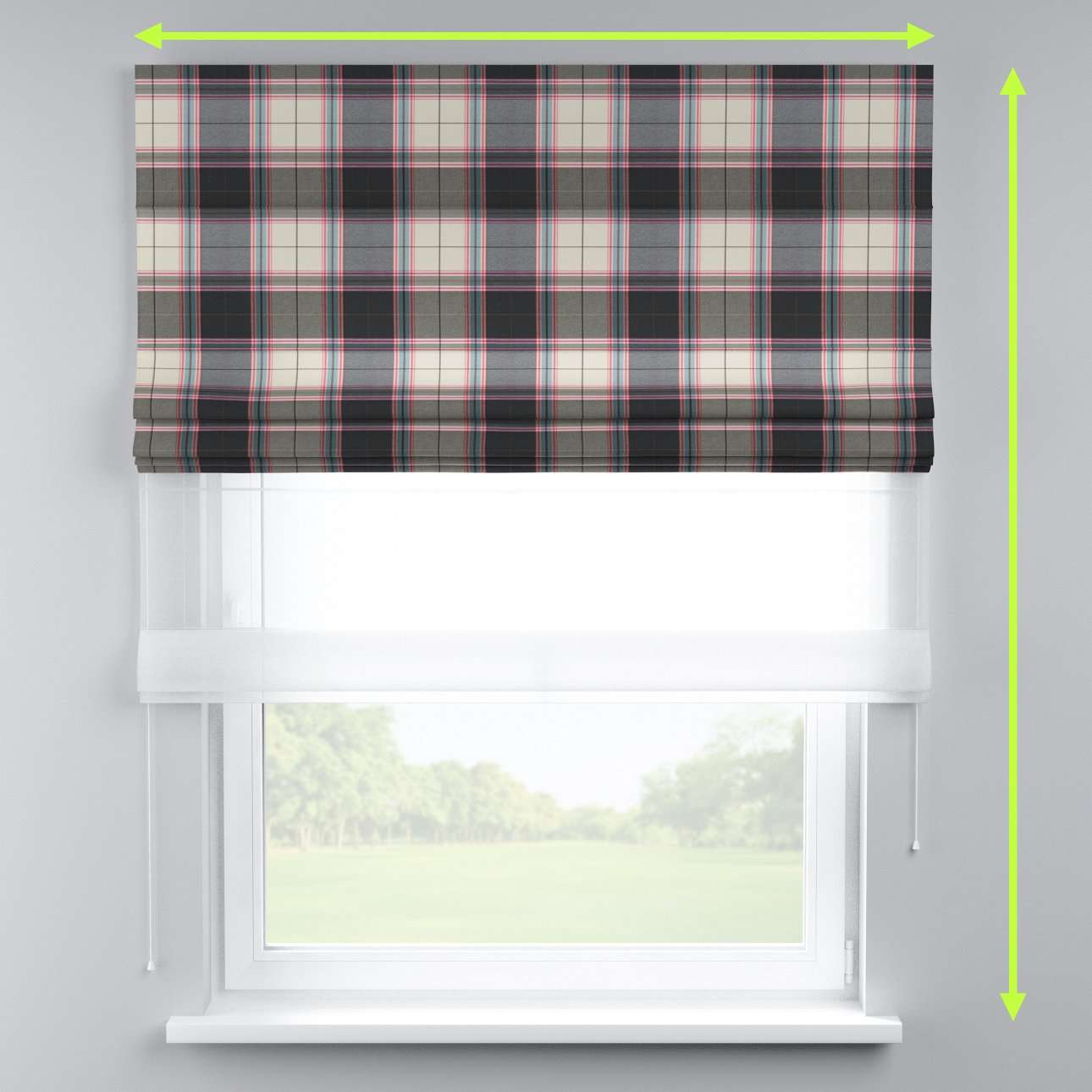Voile and fabric roman blind (DUO II) in collection Bristol, fabric: 125-32