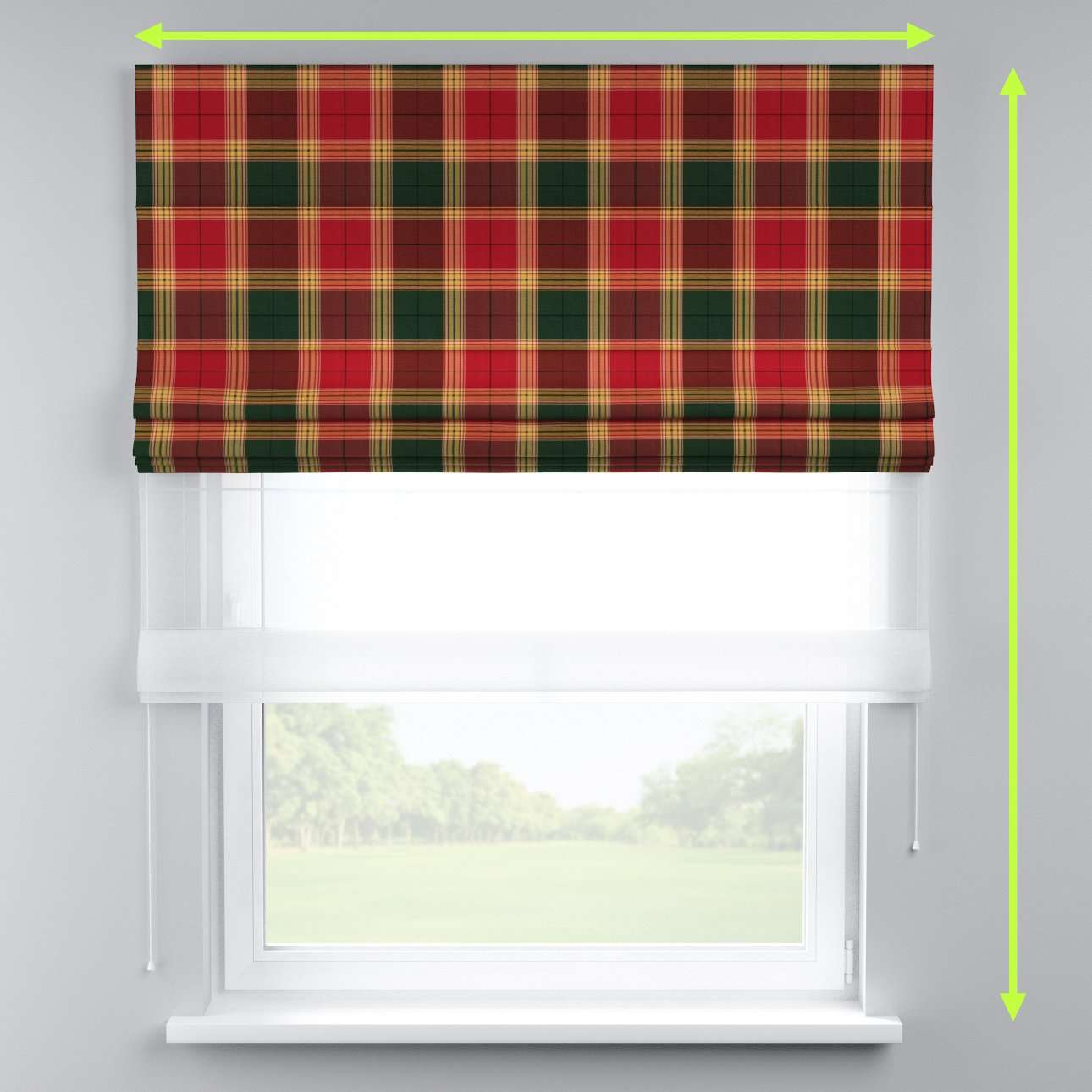 Voile and fabric roman blind (DUO II) in collection Bristol, fabric: 125-48