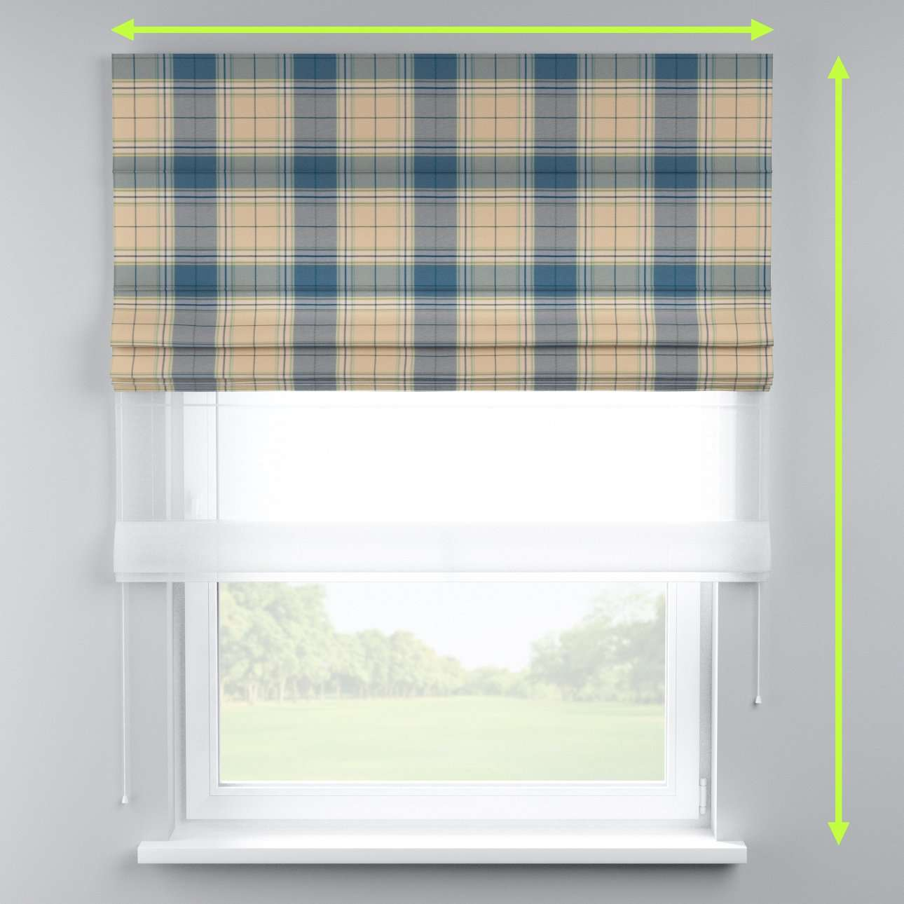 Voile and fabric roman blind (DUO II) in collection Bristol, fabric: 125-69