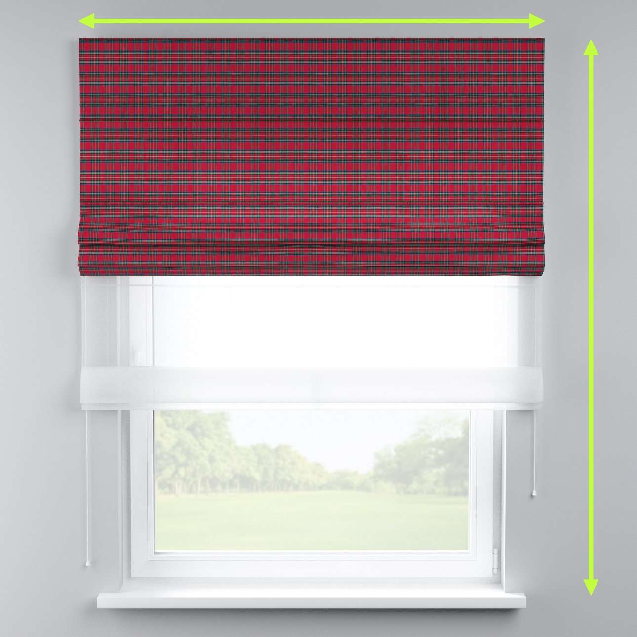 Voile and fabric roman blind (DUO II) in collection Bristol, fabric: 126-29