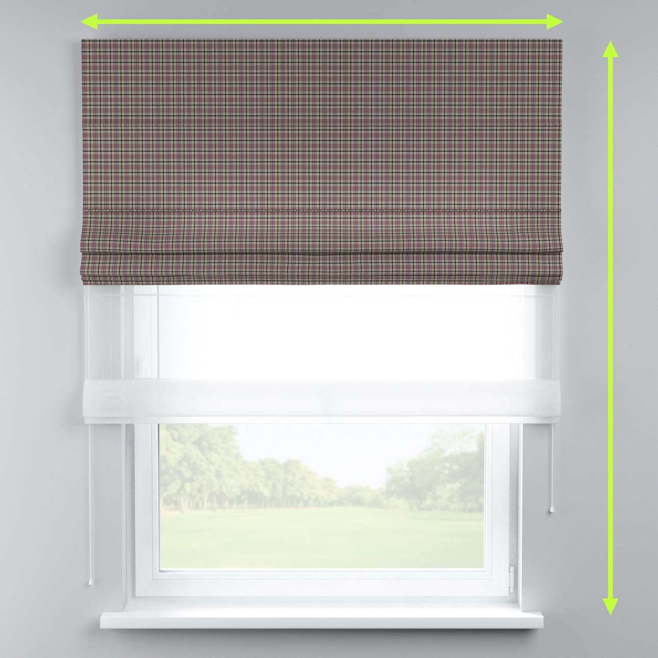 Voile and fabric roman blind (DUO II) in collection Bristol, fabric: 126-32