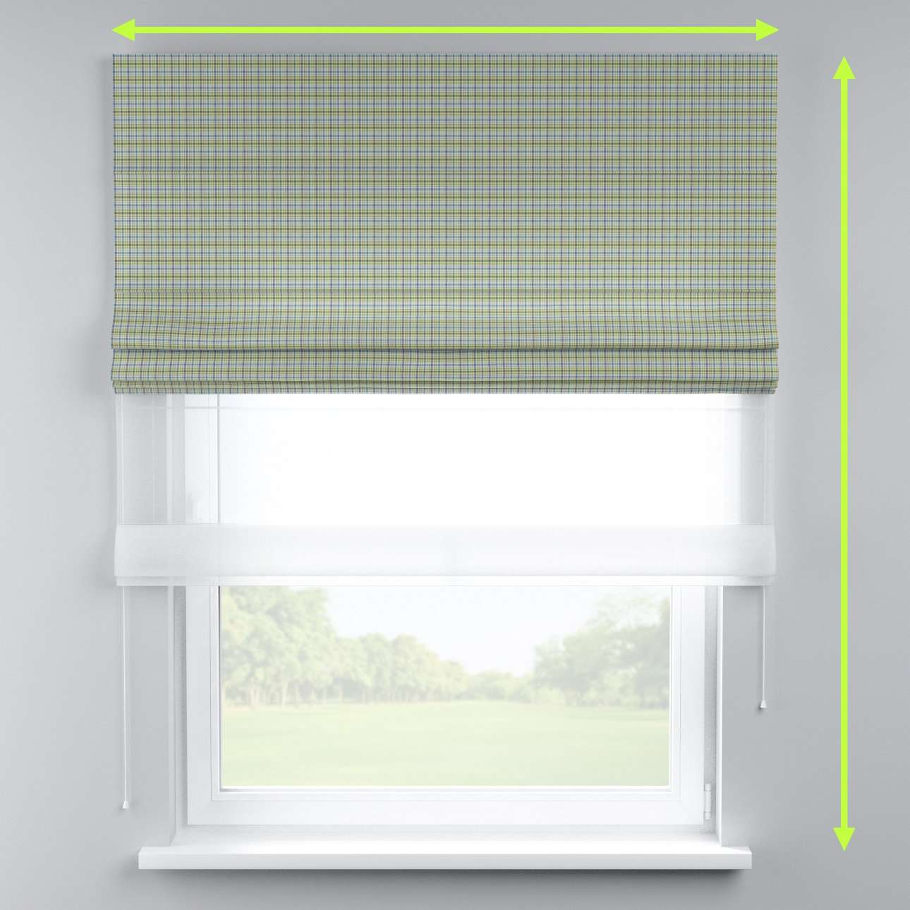 Voile and fabric roman blind (DUO II) in collection Bristol, fabric: 126-69