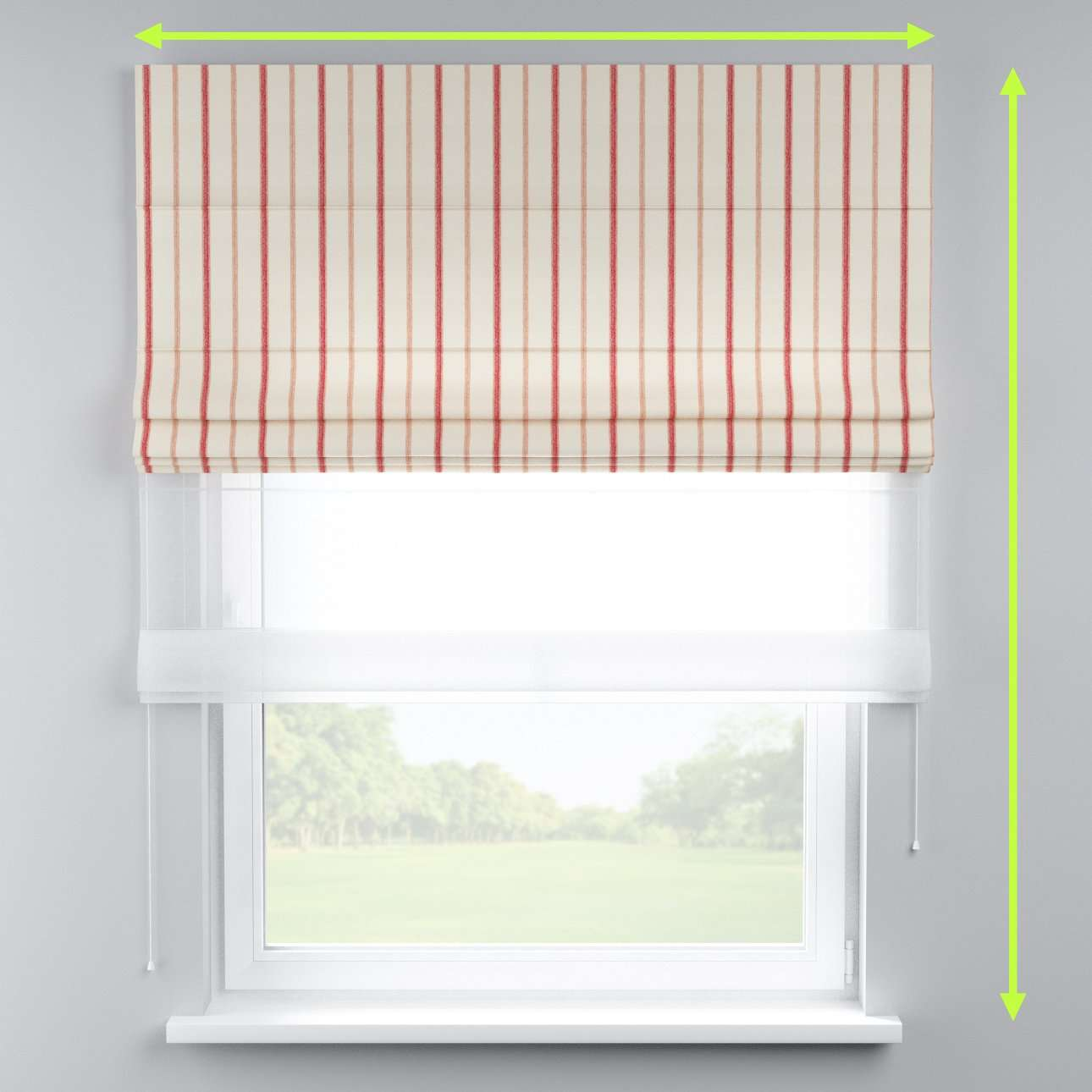 Voile and fabric roman blind (DUO II) in collection Avinon, fabric: 129-15