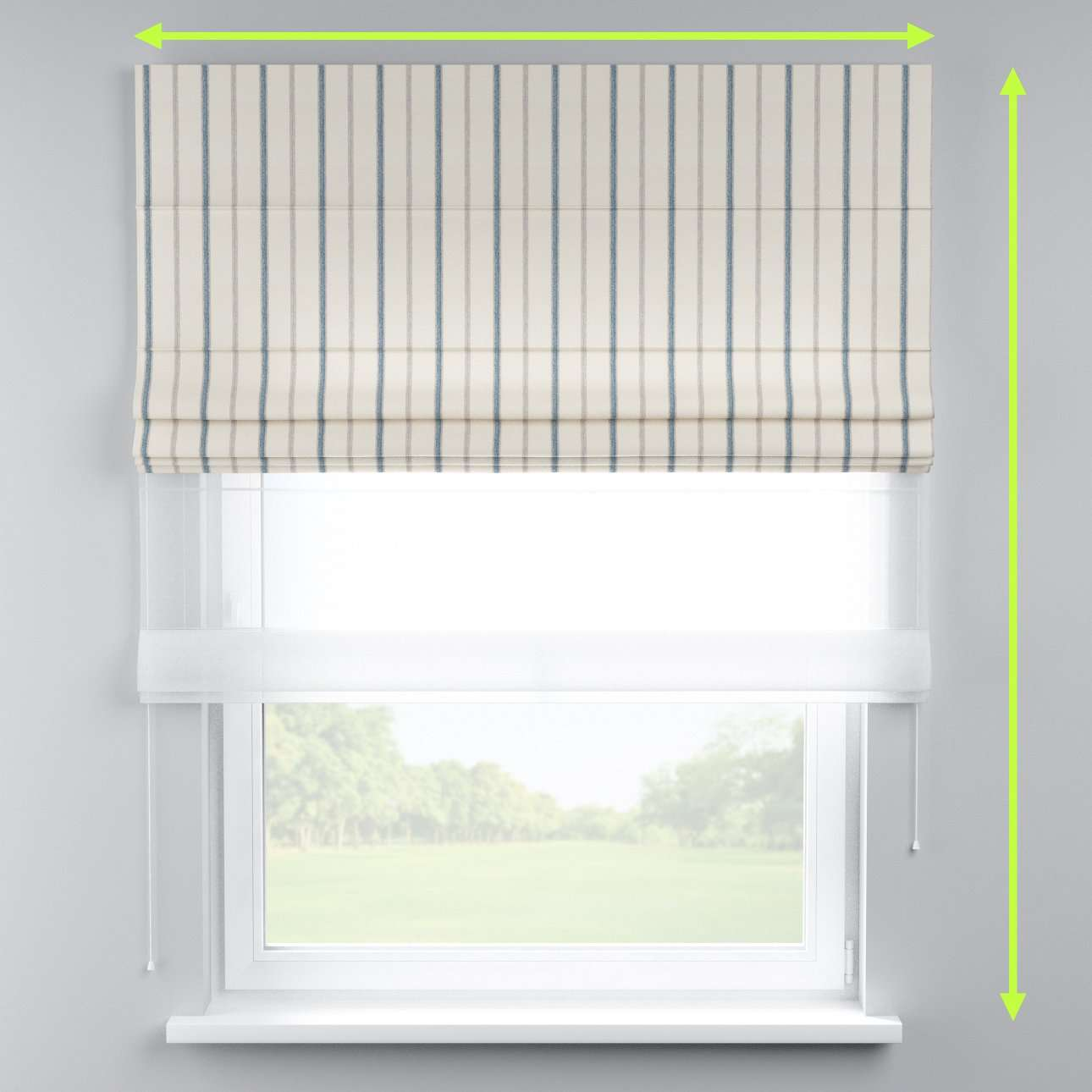 Voile and fabric roman blind (DUO II) in collection Avinon, fabric: 129-66