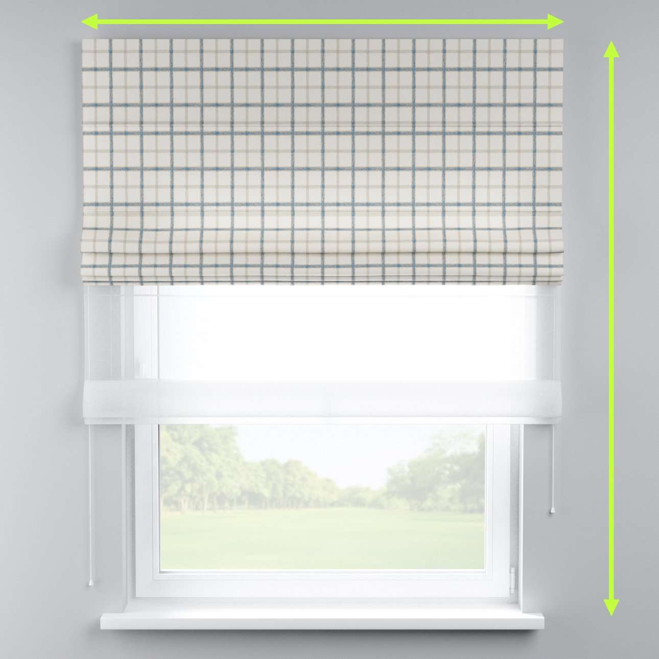 Voile and fabric roman blind (DUO II) in collection Avinon, fabric: 131-66