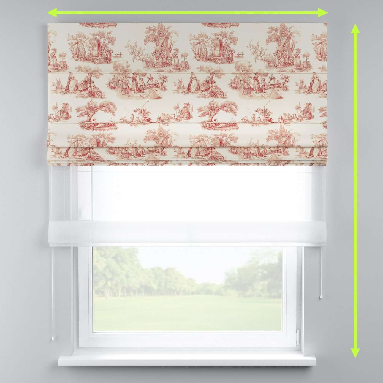 Voile and fabric roman blind (DUO II) in collection Avinon, fabric: 132-15