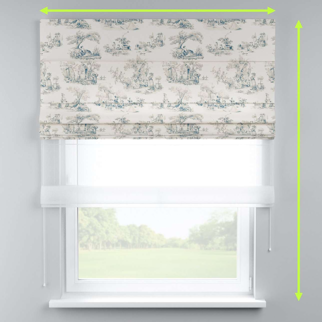 Voile and fabric roman blind (DUO II) in collection Avinon, fabric: 132-66