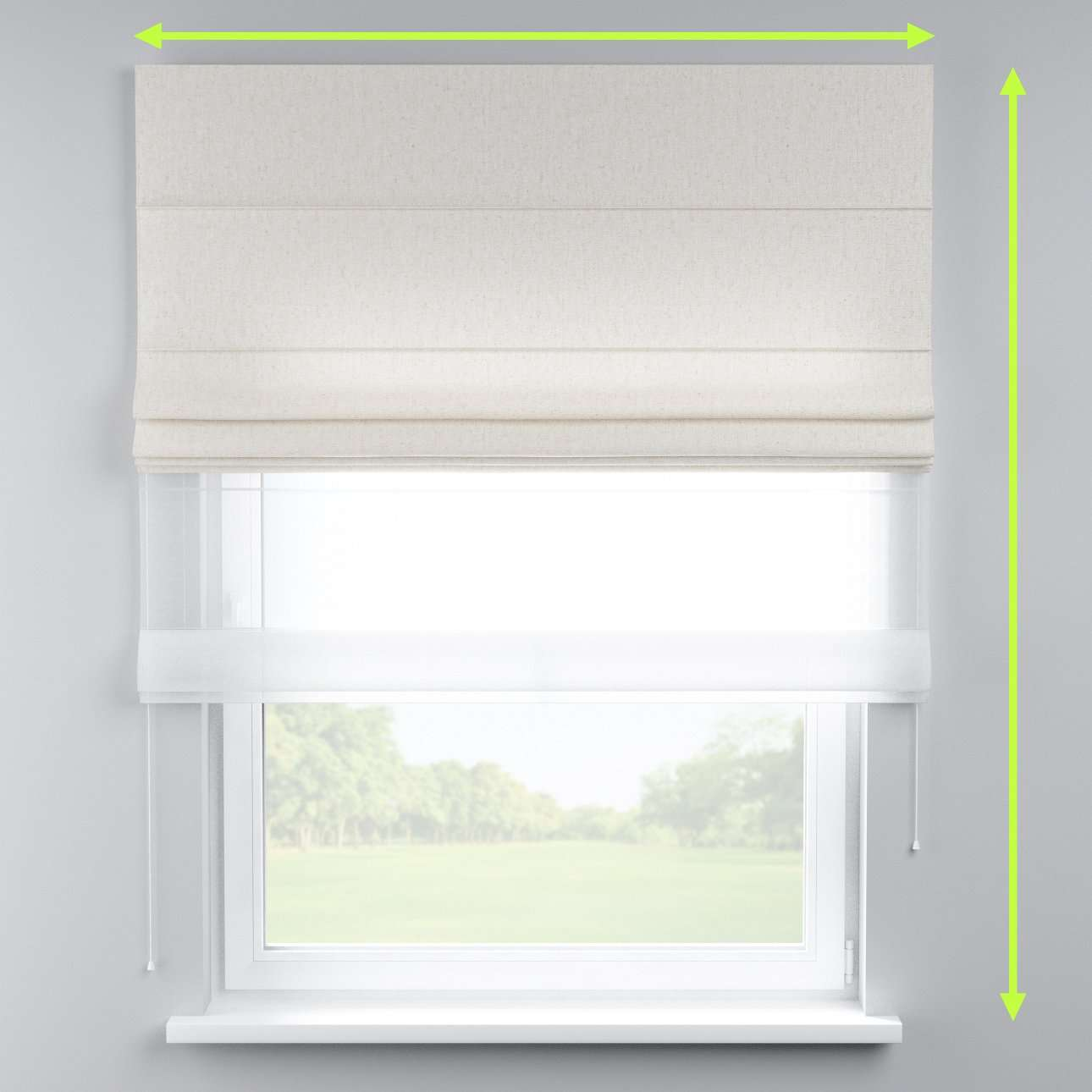 Voile and fabric roman blind (DUO II) in collection Loneta , fabric: 133-01