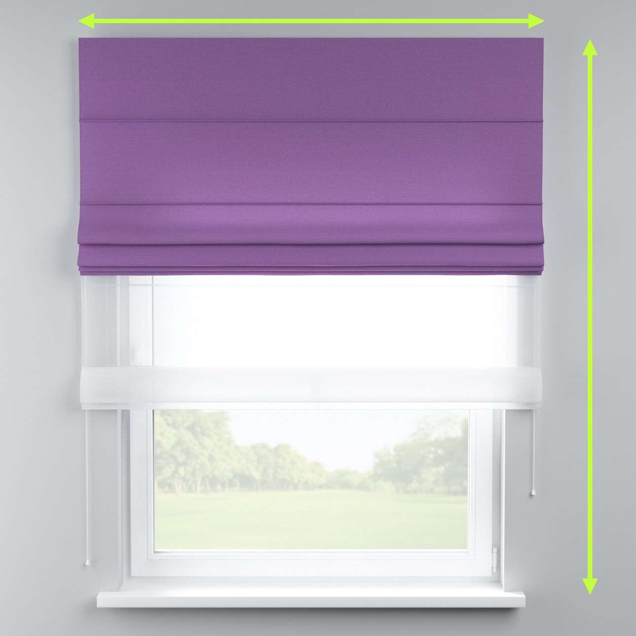 Voile and fabric roman blind (DUO II) in collection Loneta , fabric: 133-19