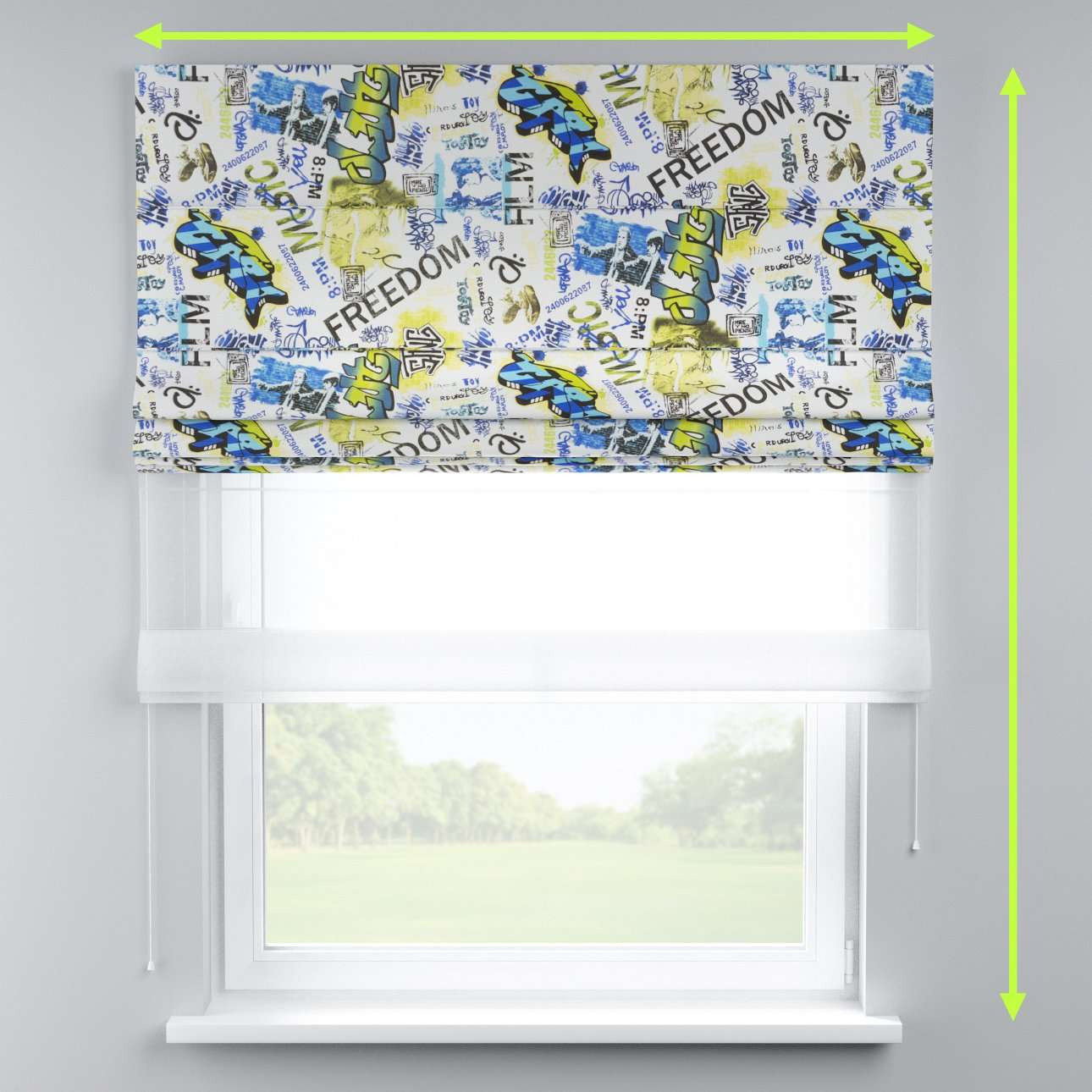 Voile and fabric roman blind (DUO II) in collection Freestyle, fabric: 135-08