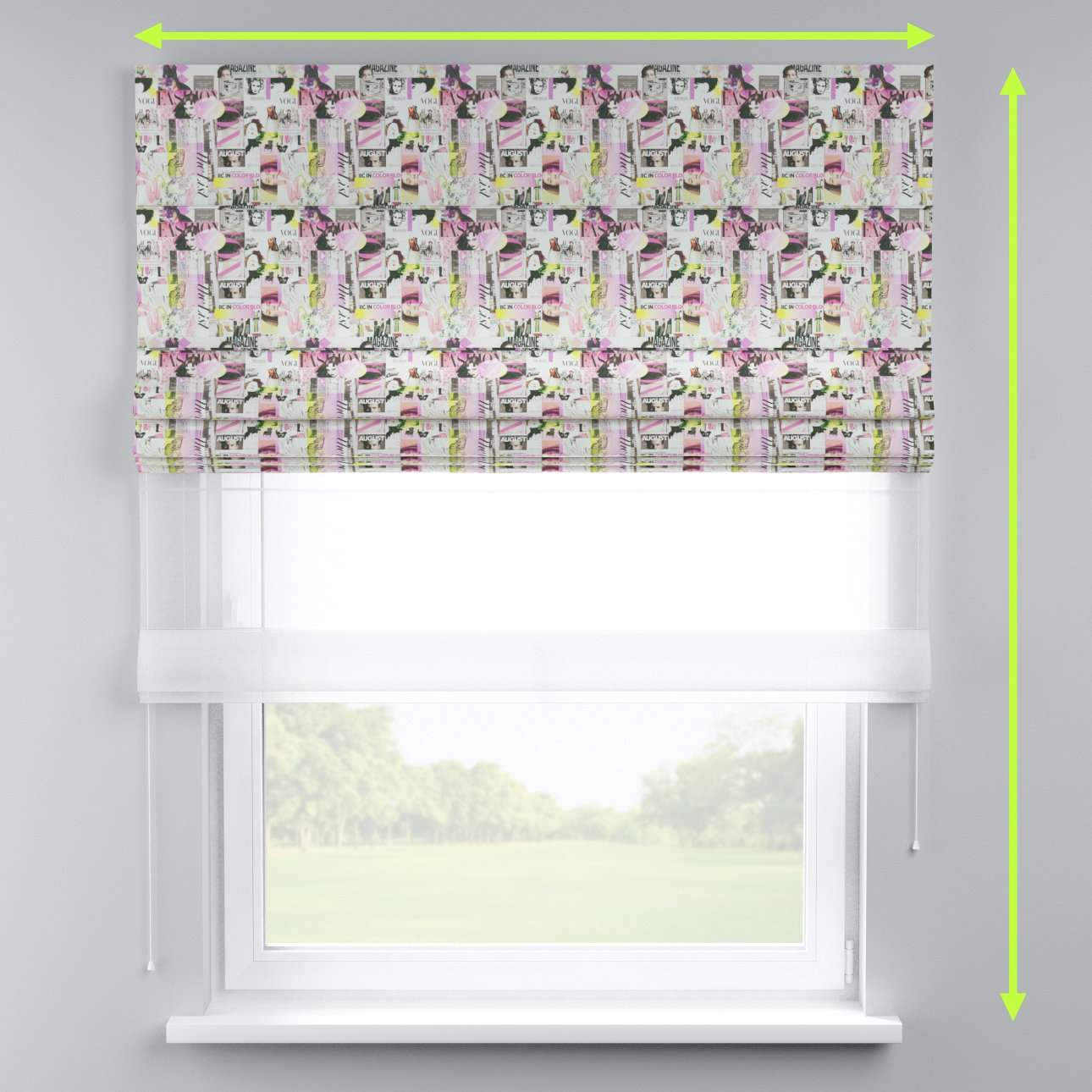 Voile and fabric roman blind (DUO II) in collection Freestyle, fabric: 135-15