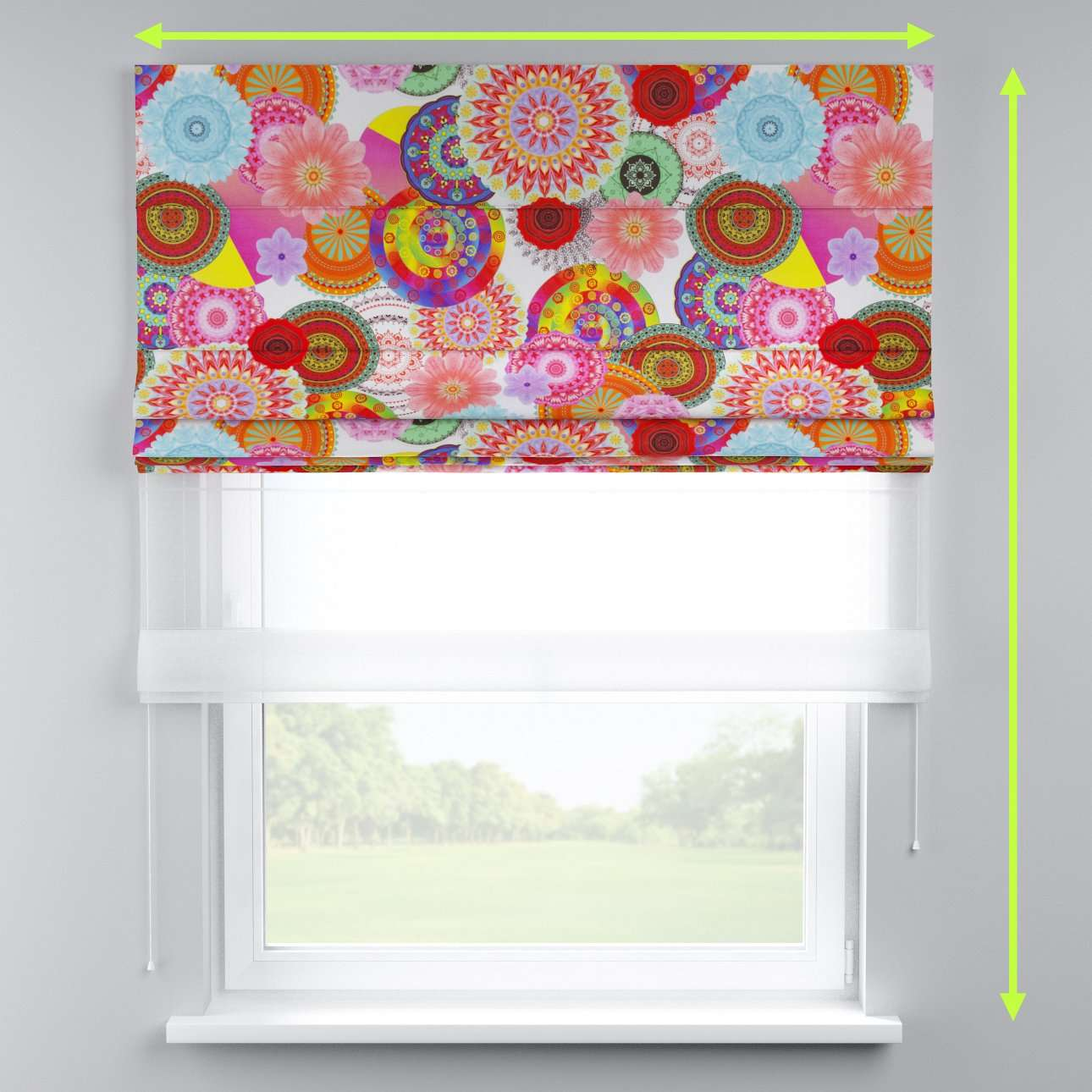 Voile and fabric roman blind (DUO II) in collection Comic Book & Geo Prints, fabric: 135-22