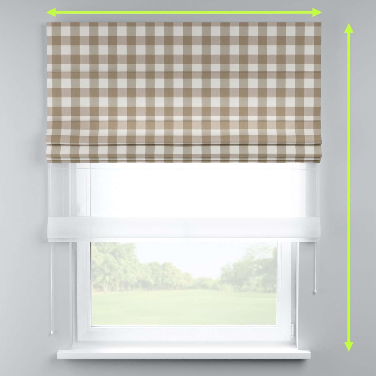 Voile and fabric roman blind (DUO II) in collection Quadro, fabric: 136-08
