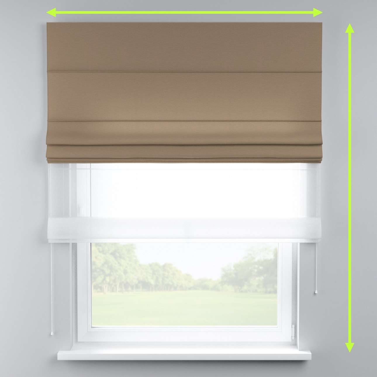 Voile and fabric roman blind (DUO II) in collection Quadro, fabric: 136-09