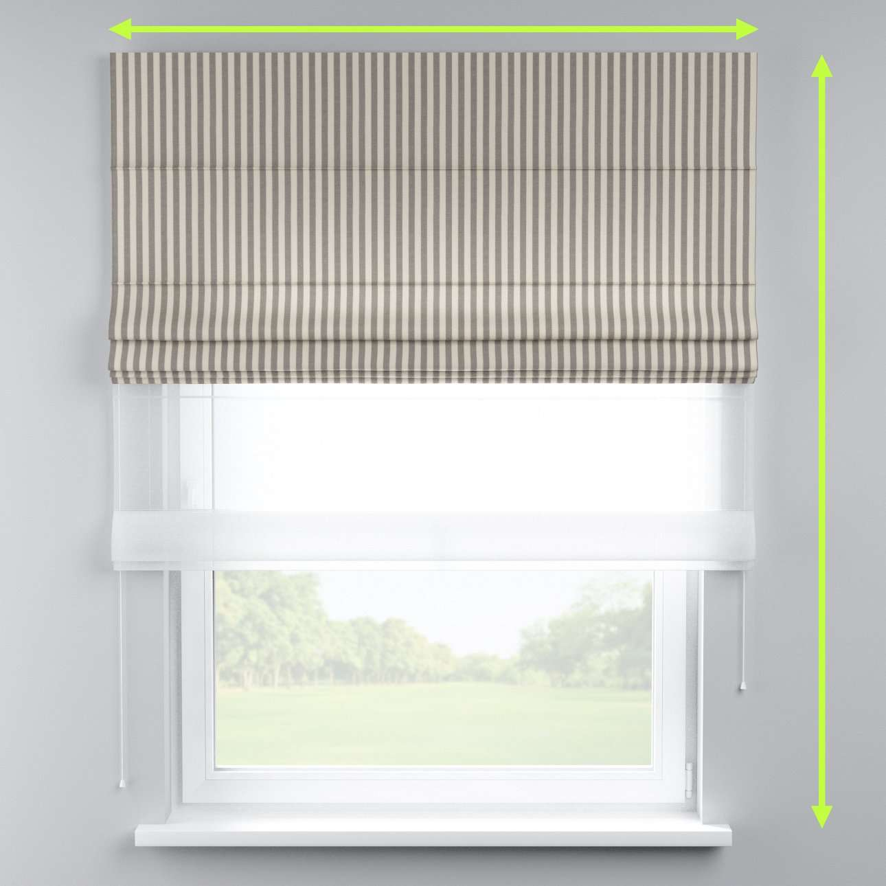 Voile and fabric roman blind (DUO II) in collection Quadro, fabric: 136-12