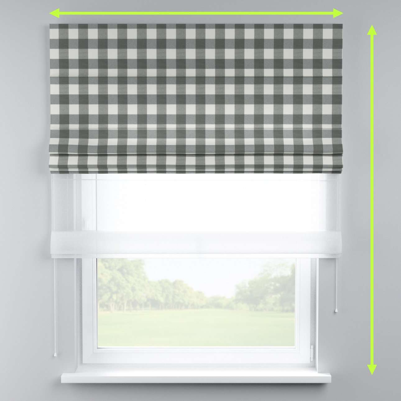 Voile and fabric roman blind (DUO II) in collection Quadro, fabric: 136-13