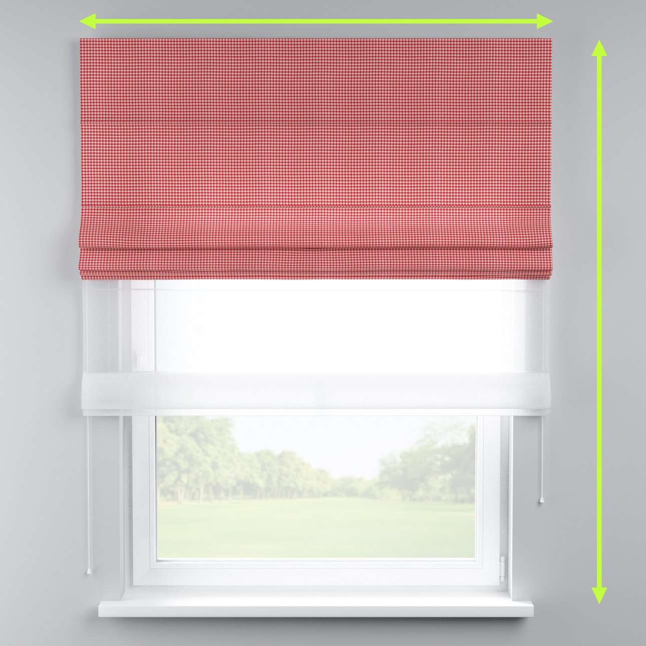 Voile and fabric roman blind (DUO II) in collection Quadro, fabric: 136-15