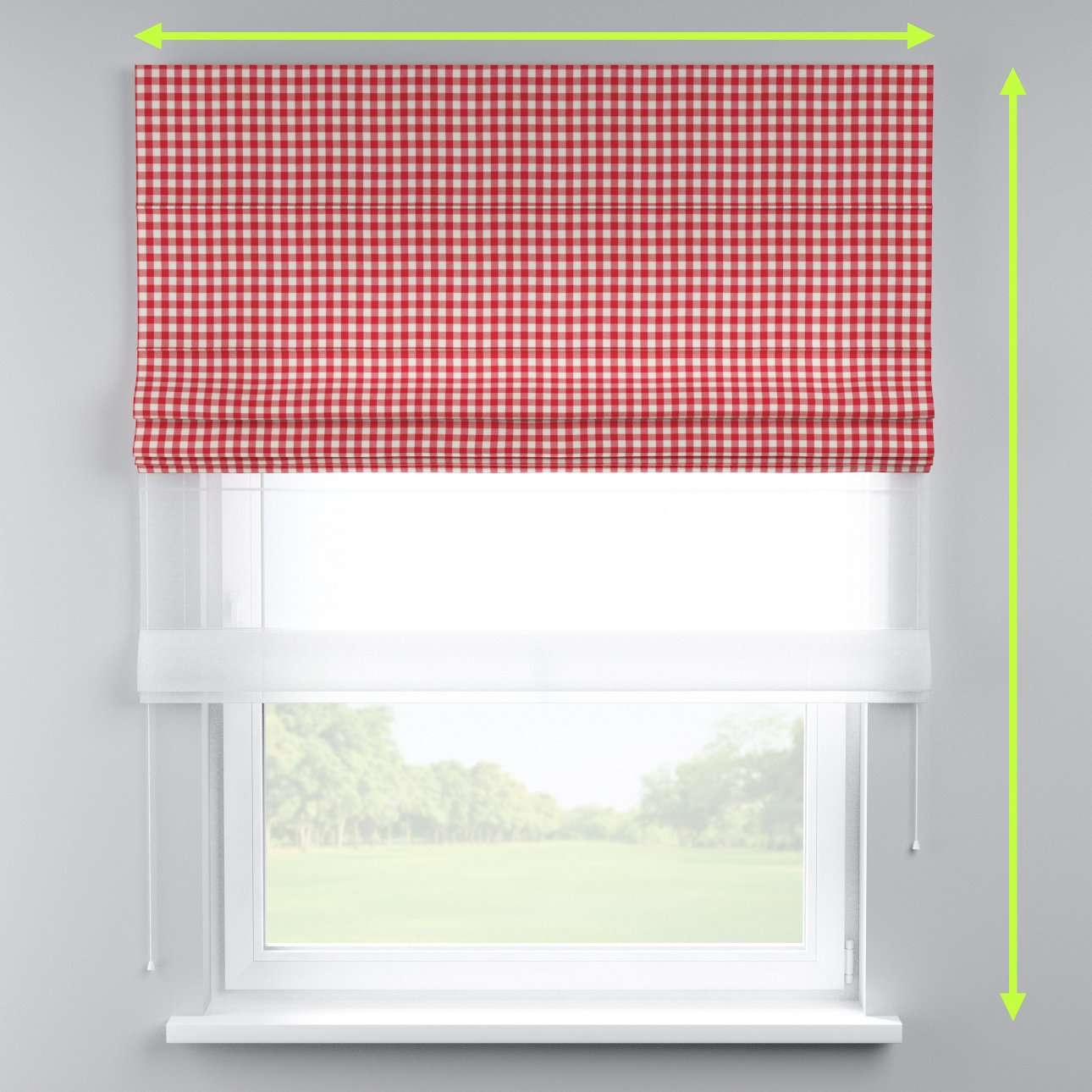 Voile and fabric roman blind (DUO II) in collection Quadro, fabric: 136-16
