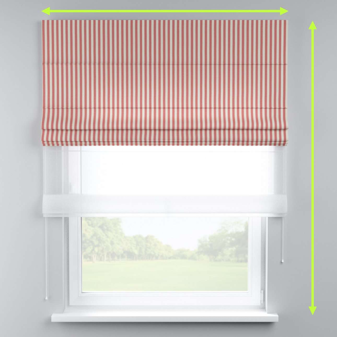 Voile and fabric roman blind (DUO II) in collection Quadro, fabric: 136-17