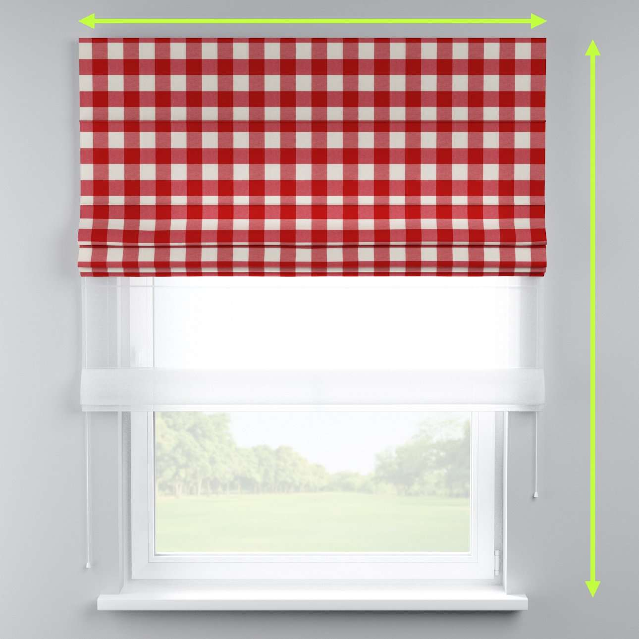 Voile and fabric roman blind (DUO II) in collection Quadro, fabric: 136-18