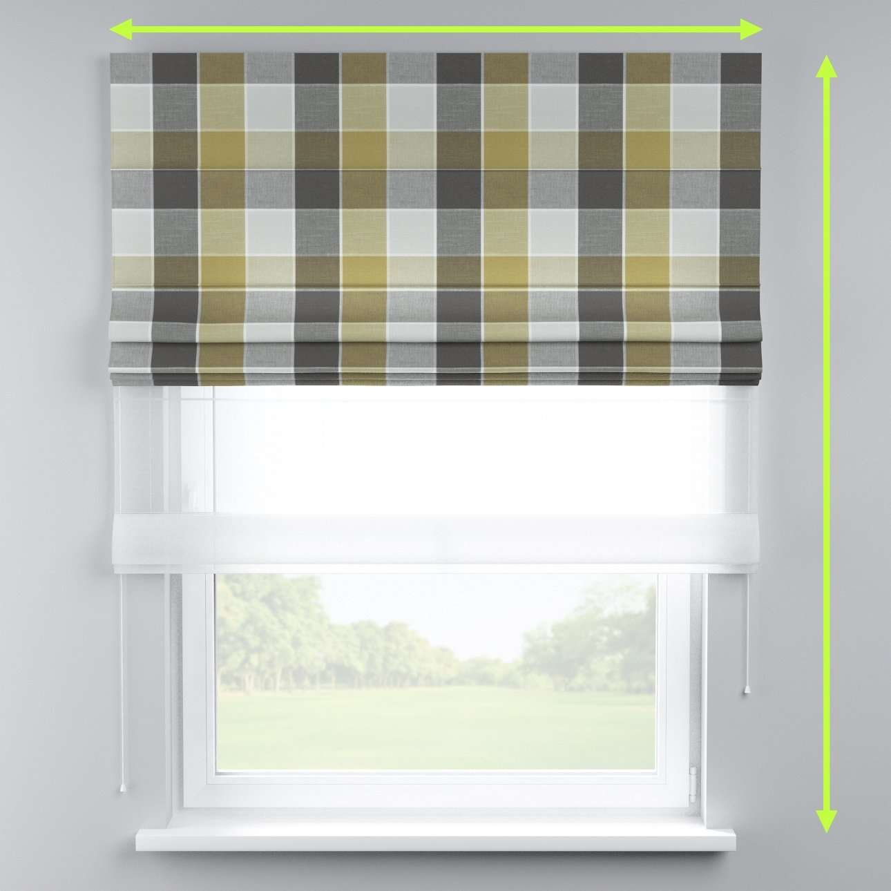 Voile and fabric roman blind (DUO II) in collection Cardiff, fabric: 136-20