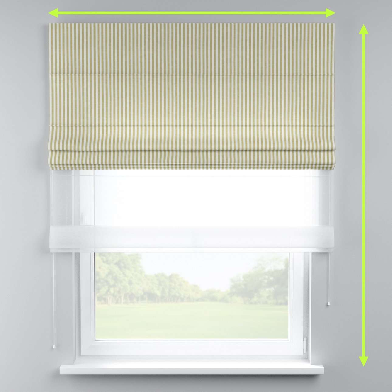 Voile and fabric roman blind (DUO II) in collection Cardiff, fabric: 136-21