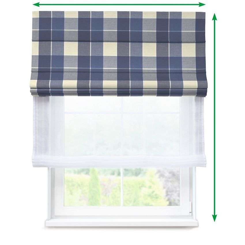 Voile and fabric roman blind (DUO II) in collection Cardiff, fabric: 136-24