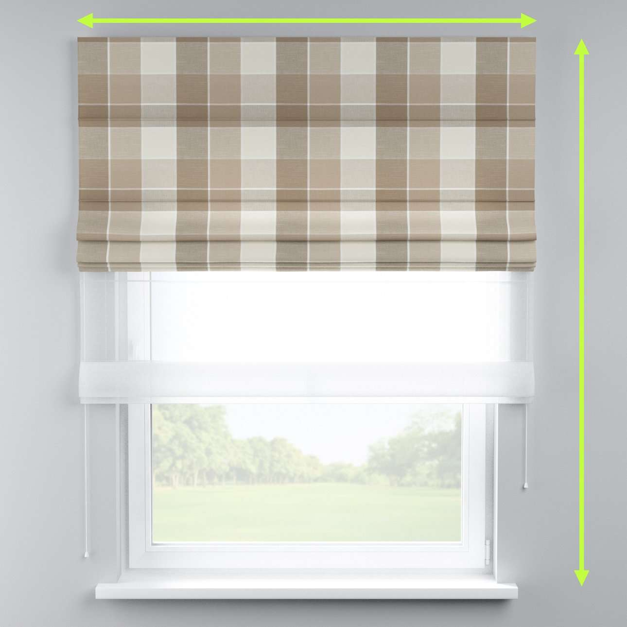 Voile and fabric roman blind (DUO II) in collection Cardiff, fabric: 136-28