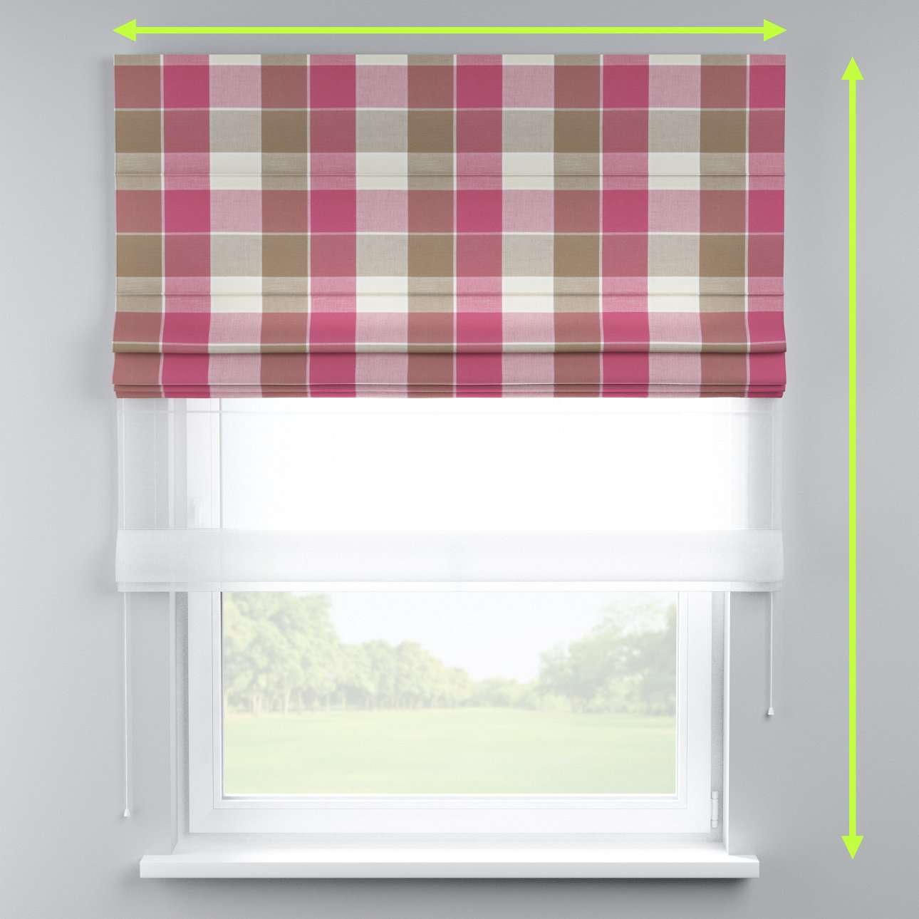 Voile and fabric roman blind (DUO II) in collection Cardiff, fabric: 136-31