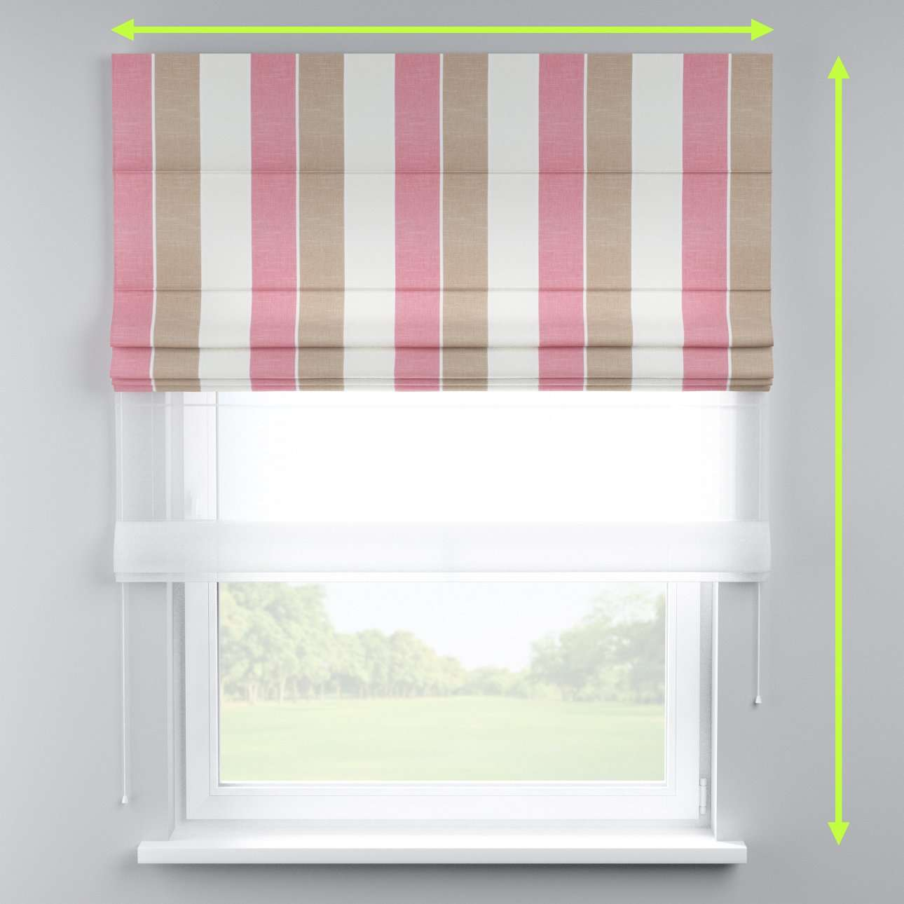 Voile and fabric roman blind (DUO II) in collection Cardiff, fabric: 136-32