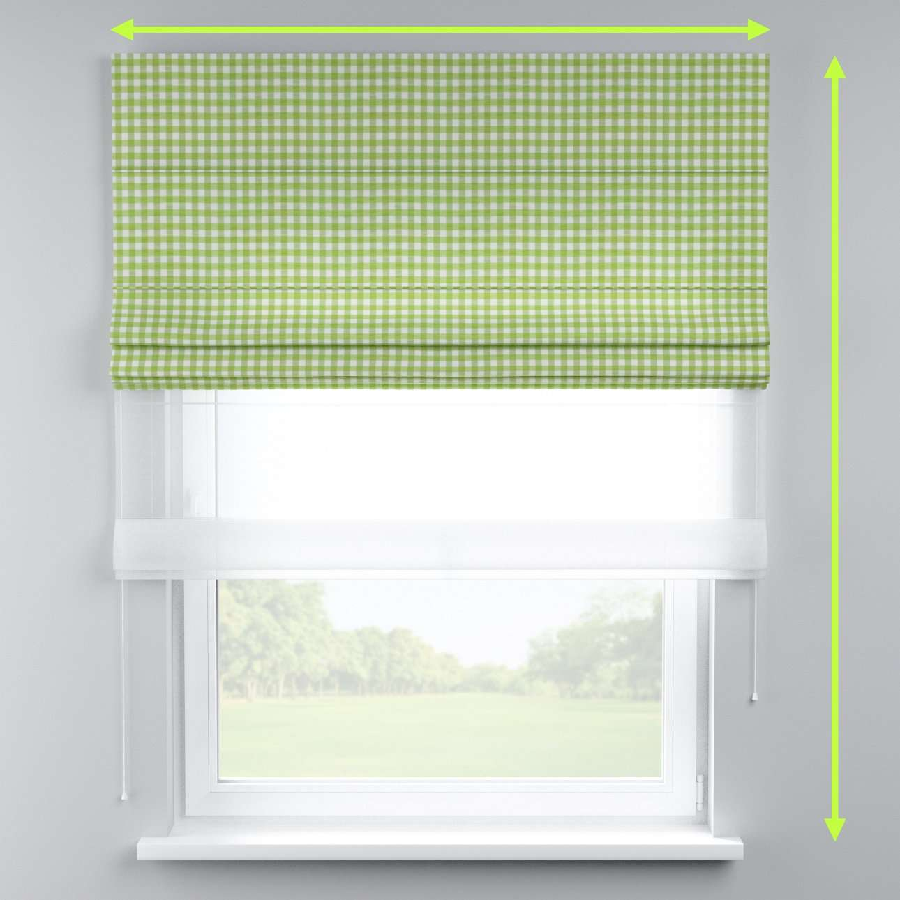 Voile and fabric roman blind (DUO II) in collection Quadro, fabric: 136-34