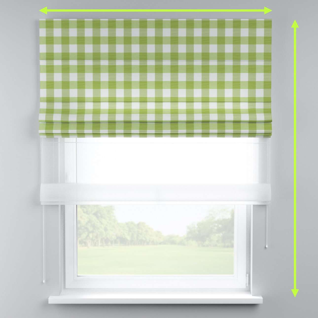 Voile and fabric roman blind (DUO II) in collection Quadro, fabric: 136-36